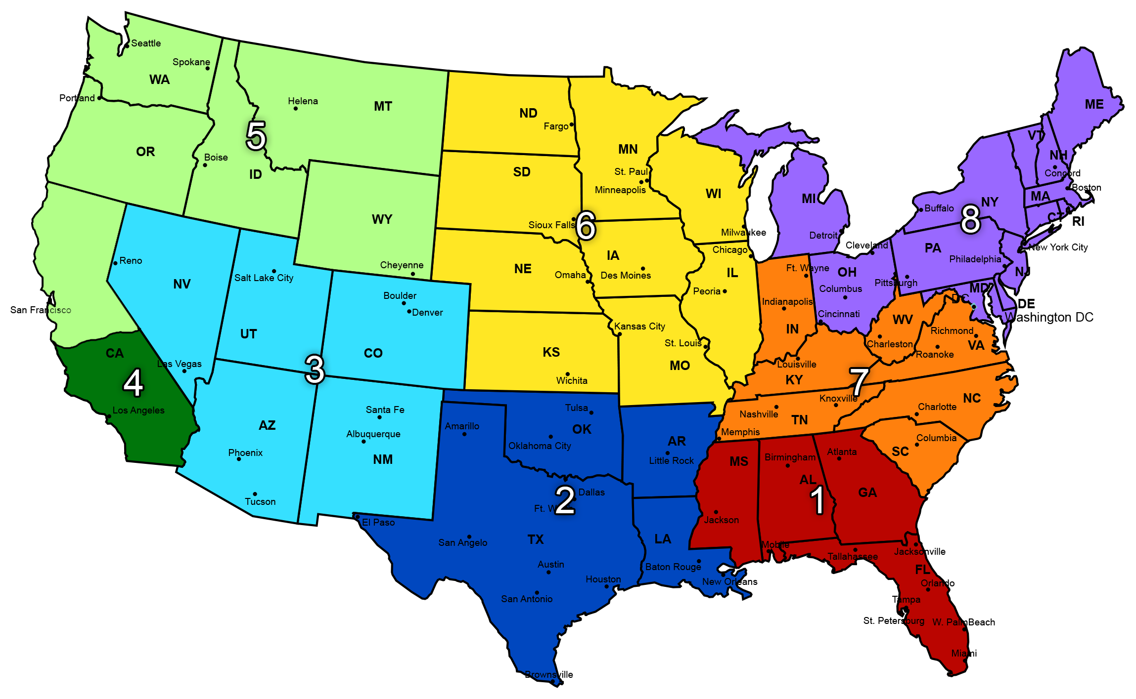 USA Elite Select - Regional us map